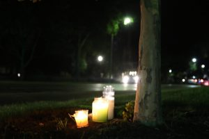 Students lit candles on Sheridan Road for the Northwestern student killed in truck/bicycle accident on September 22.